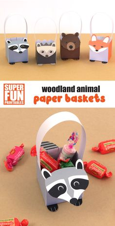 A cute set of printable woodland animal paper baskets to print and make. The set includes a hedgehog, a fox, a brown bear and a raccoon. This is a fun and easy Autumn or Fall craft for kids which would make a cute small handmade gift when filled with treats or a party favour idea for a woodland themed party. #kidscrafts #woodlandanimals #printablebaskets #papercrafts #autumncrafts #fallcrafts #printablecrafts #thecrafttrain Autumn Crafts, Fall Crafts For Kids, Kids Crafts, Fun Activities For Kids, Activity Ideas, Learning Activities, Craft Ideas, Cardboard Crafts, Paper Crafts
