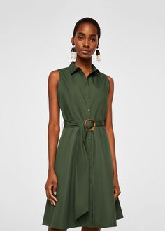 Mango WENDY - Dress - khaki for with free delivery at Zalando Khaki Shirt Dress, Cotton Shirt Dress, Vestidos Safari, Moda Mango, Wendy Dress, Mode Wax, Safari Dress, Camisa Formal, Fashion Clothes