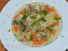 Francúzska polievka Thai Red Curry, Risotto, Soup, Chicken, Meat, Ethnic Recipes, Soups, Cubs