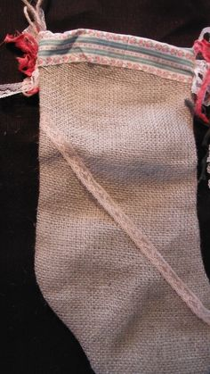 Burlap and Lace Christmas Stocking -Handmade with vintage lace and country tassels, one of a kind
