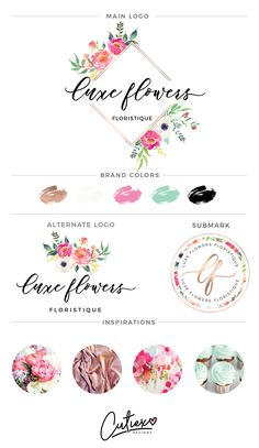 Flower watercolour premade logo | Branding Kit Logo | Watercolor Logo | Florist Logo | Photographer Logo | Preamde Branding Kit by CutiexoTreasures on Etsy https://www.etsy.com/listing/492289114/flower-watercolour-premade-logo-branding