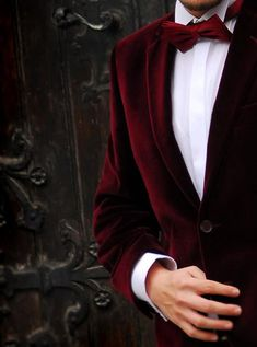 Daniel wearing a beautiful velvet blazer & Burgundy bow-tie. PHOTO: Lucian Enasoni