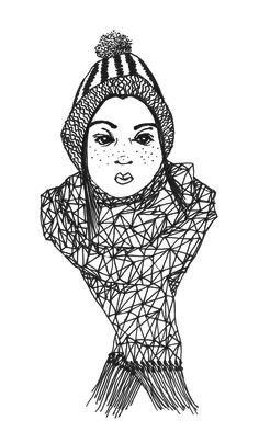 Girl with scarf nr. 3 by krisztiballa #krisztiballa #illustration #fashion #penandink #details #bw #fashionillustration