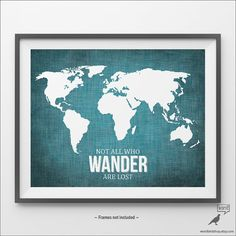 World map wall decor large map decor nautical wall art for girls blue world map poster not all who wander are lost by wordbirdshop gumiabroncs Gallery