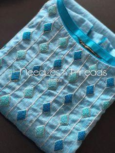 If I Had a Boutique - Salvabrani - Salvabrani Embroidery On Kurtis, Hand Embroidery Dress, Kurti Embroidery Design, Embroidery Neck Designs, Hand Embroidery Videos, Bead Embroidery Patterns, Embroidery On Clothes, Embroidery Fashion, Beaded Embroidery