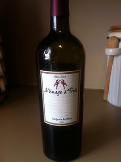 California Red Wine - Menage a Trois - A delightful blend based on three varietals--Zinfandel, Merlot, and Cabernet Sauvignon.