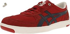 Onitsuka Tiger Pine Star Court Lo Fashion Sneaker,Red/Navy,12 M US/13.5 Women's M US - Onitsuka tiger sneakers for women (*Amazon Partner-Link)