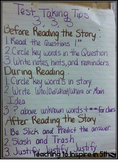 Clever anchor chart to help students remember test taking strategies