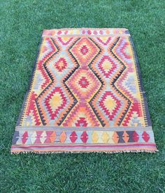 "Home Decor Aztec Diamond Kilim Rug,Vintage Turkish Kilim Rug,Tapestry 4'7""x6'11"" 
