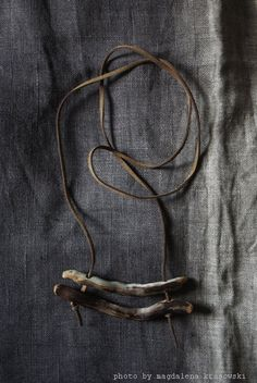 natural necklace = found grey + brown wood + organic brown leather strap