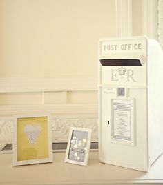 White Royal Mail Wooden Wedding Card Post Box X1