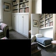 Murphy Bed Bookcase. Holy Moly.. this is a great answer to a extra bed problem