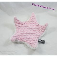 Doudou plat étoile BABY'S ONLY rose blanc maille 28 cm