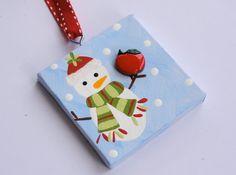 Great idea for teachers or daycare providers alike:  teacher snowman mini canvas ornament by threedoodlebugs on Etsy, $7.25