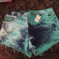 Tye dye denim shorts Cut off destroyed tye dye denim shorts Jeans