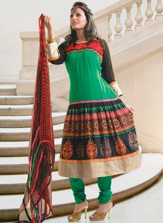 Green Printed Georgette Pakistani Suit