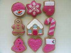 Set of 9 Mini Cookie Ornaments-Mini Tree Ornament set-Pink Christmas Ornaments-Pink Ornaments-Small Tree Ornaments-Pink Ornament Set