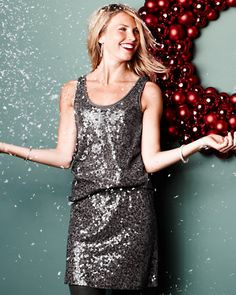 Sequined Knit Tank and Skirt--cute together as a dress, or wear the skirt with a chunky sweater