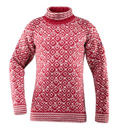 Svalbard sweater high-neck - Hindberry/ Offwhite - Devold of Norway