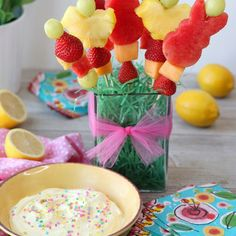 Whipped Lemon Dip with Easter Fruit Skewers