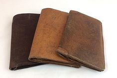 Vintage Gentleman's Pigskin Wallets' 1930's & 1940's – Three in Total #Unbranded #VintageBifold