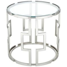 "Clear tempered glass.  Polished metal frame and legs.  24"" wide.  23"" high. $299 Geometric Tempered Glass End Table"