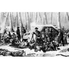 American Forest Scene Maple Sugaring by Currier and Ives Canvas Art - Currier and Ives (24 x 36)