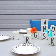 Arne Jacobsen melamine cups and plates by Design Letters. Lettering Design, Branding Design, Design Letters, House Doctor, Beautiful Interior Design, Scandinavian Living, Arne Jacobsen, Nordic Design, Corporate Gifts