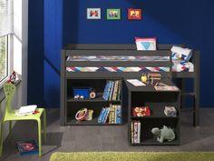 Charlotte halfhoogslaper met bureau & boekenkast (taupe) kopen? ✓ Houten hoogslapers ✓ Vlotte levering ✓ Top kwaliteit ✓ Uitstekende service