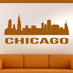 Add a cosmopolitan touch to your room with Chicago's skyline and its bold architecture punctuated by skyscraper icons like the John Hancock Center. Chicago Usa, Chicago Skyline, Chicago Illinois, City Wall Stickers, Kids Stickers, Baby Room Wall Decals, Vinyl Art, Wall Art, Link