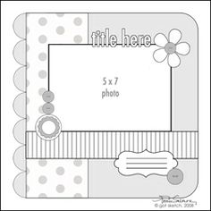 Scrapbook page sketch- 5x7 photo