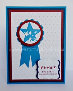 Sweet Little Sentiments - handcrafted, blue and red congratulations card