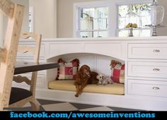 After seeing this, I need to add this design into our Laundry/Mud Room...Awesome Built In Dog Bed!
