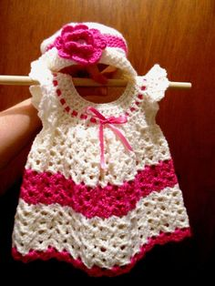 White & Pink Crochet Baby Dress and Hat.: