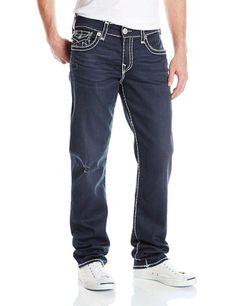 True Religion Mens Jeans Size 42 1/2 Ricky Super T in Pitch Dark NWT $349 #TrueReligion #ClassicStraightLeg