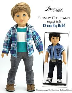 Boy Doll Jeans Bundle Doll Clothes Pattern For American Girl Boy Doll American Boy Doll, American Doll Clothes, Kids Clothes Patterns, Clothing Patterns, Doll Patterns, Kids Clothing, 18 Inch Boy Doll, Boy Doll Clothes, Patterned Jeans