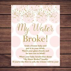 Pink And Gold My Water Broke Baby Shower Game, Instant Download PDF  Printable203