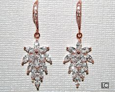 Rose Gold Wedding Jewelry, Bridal Jewelry Sets, Crystal Wedding, Bridesmaid Earrings, Bridal Earrings, Rose Gold Earrings, Crystal Earrings, Cubic Zirconia Earrings, Beautiful Necklaces
