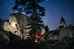 Night Bouldering in Lake Tahoe