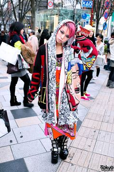 Hirari Ikeda, works at Dog Harajuku Boutique, attends beauty school, is a major Tokyo Street style icon Harajuku Mode, Harajuku Japan, Harajuku Girls, Harajuku Style, Geek Fashion, Tokyo Fashion, Harajuku Fashion, Fashion News, Style Fashion