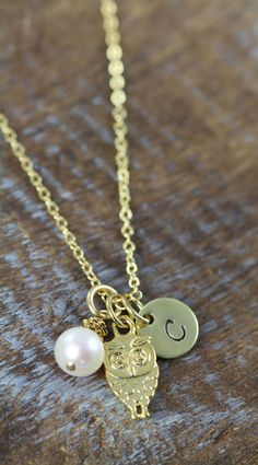 Personalized Owl Necklace Gold with custom initial by ShinyLittleBlessings