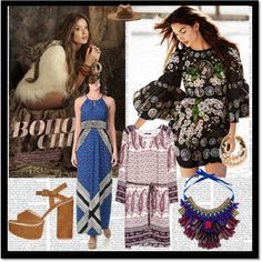 Boho Chic by chicmisses on Polyvore featuring Violeta by Mango, London Times, Topshop, Lizzie Fortunato, Matthew Williamson, rag & bone and Behance