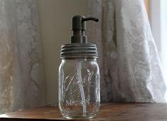 Mason Jar Soap Dispenser: Pint jar, galvanized lid, metal soap pump