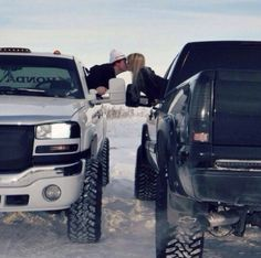 Josh and I have to do this with our trucks His and hers