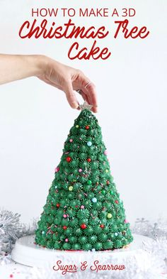 Learn how to make a Christmas Tree Cake decorated with buttercream piping and festive Holiday sprinkles Christmas Themed Cake, Christmas Cake Designs, 3d Christmas Tree, Christmas Cake Decorations, Christmas Party Food, Holiday Cakes, Christmas Cooking, Christmas Goodies, Christmas Desserts