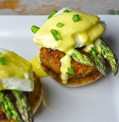 Crab Cakes Eggs Benedict with Asparagus