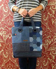 Repurposed denim (hexie) bag | by Just Jude Designs