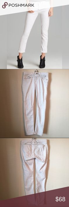 """Rag and Bone """"The Dre"""" White Skinny Jeans d e s c r i p t i o n  Super soft bright white denim sculpts these ultraslim skinny jeans cleanly styled with tonal topstitching and glints of silver-tone hardware. Marker on inside tag, otherwise no wear and in excellent condition.  c o n t e n t  55% cotton 