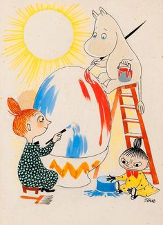 View Moomin and the Mymble paint an Easter egg by Tove Jansson on artnet. Browse upcoming and past auction lots by Tove Jansson. Little My Moomin, Easter Paintings, Moomin Valley, Saint Yves, Tove Jansson, Children's Book Illustration, Botanical Illustration, Illustrations And Posters, Happy Easter