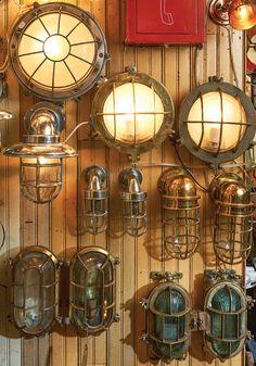 Old House Journal Magazine - Nautical Lights Ahoy Vintage Nautical Bathroom, Nautical Bedroom, Nautical Bathrooms, Nautical Home, Nautical Interior, Nautical Office, Nautical Furniture, Nautical Compass, Nautical Flags